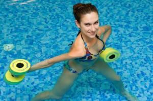 girl in aqua fitness aerobic
