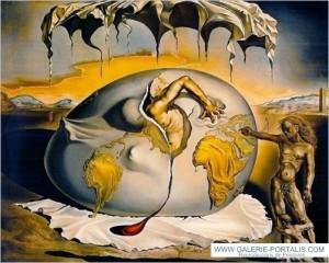 Enfant géopolitique observant la naissance de l'homme nouveau-dali