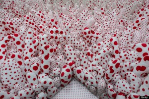 """View of an installation of the exhibition """"Infinite Obsession"""" by 84-year-old Japanese female artist Yayoi Kusama at the Banco do Brasil Cultural center (CCBB) in Rio de Janeiro, Brazil, on October 11, 2013. AFP PHOTO / YASUYOSHI CHIBA (Photo credit should read YASUYOSHI CHIBA/AFP/Getty Images)"""