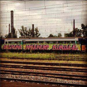 """Tag sur un vieux train """"orgasme rarement simulé"""", street art"""