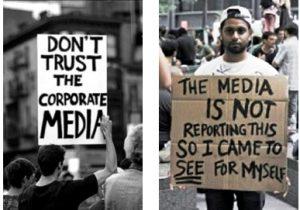 des manifestants américains contre la manipulation des médias