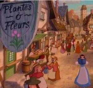 La Belle et la bête de Disney, Belle traverse le village en lisant