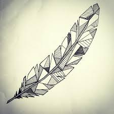 Tatouage de plume géométrique