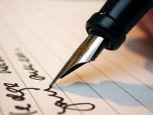 Ecriture et stylo encre