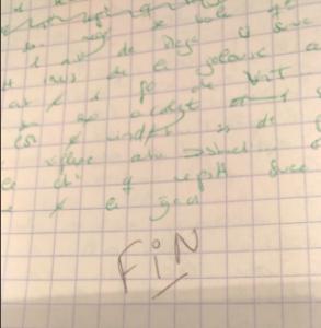 écrire le mot FIN