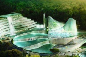 Croquis du futur centre aquatique à Lormont par Stark
