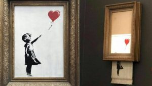 Destruction d'un tableau de Banksy en pleine vente aux enchères